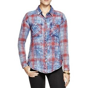 FREE PEOPLE Faded Plaid Double Cloth Button Shirt